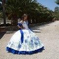 2016 Luxo Branco Azul Royal Bordado vestido de Baile Quinceanera Vestidos de Cetim do Assoalho-Comprimento Vestidos De 15 Anos Doce 16 vestidos