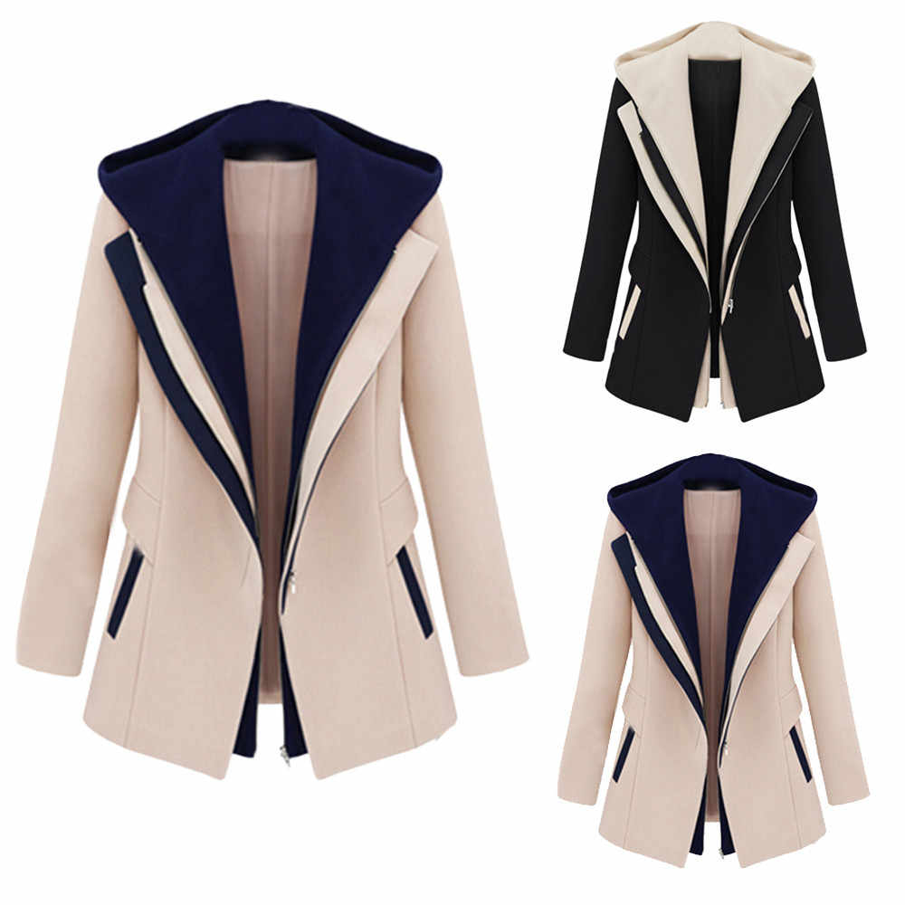 Women Hooded Coat Work Suit Long Sleeve Office Removable Hooded Coat Jacket  Ladies Pocket Fall,Winters