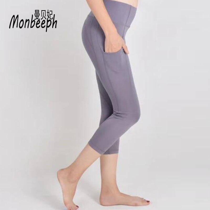 Monbeeph new slim pencil pants with pocket skinny leggings capris elasticity trousers 2018 black gray pants Calf-Length Pants