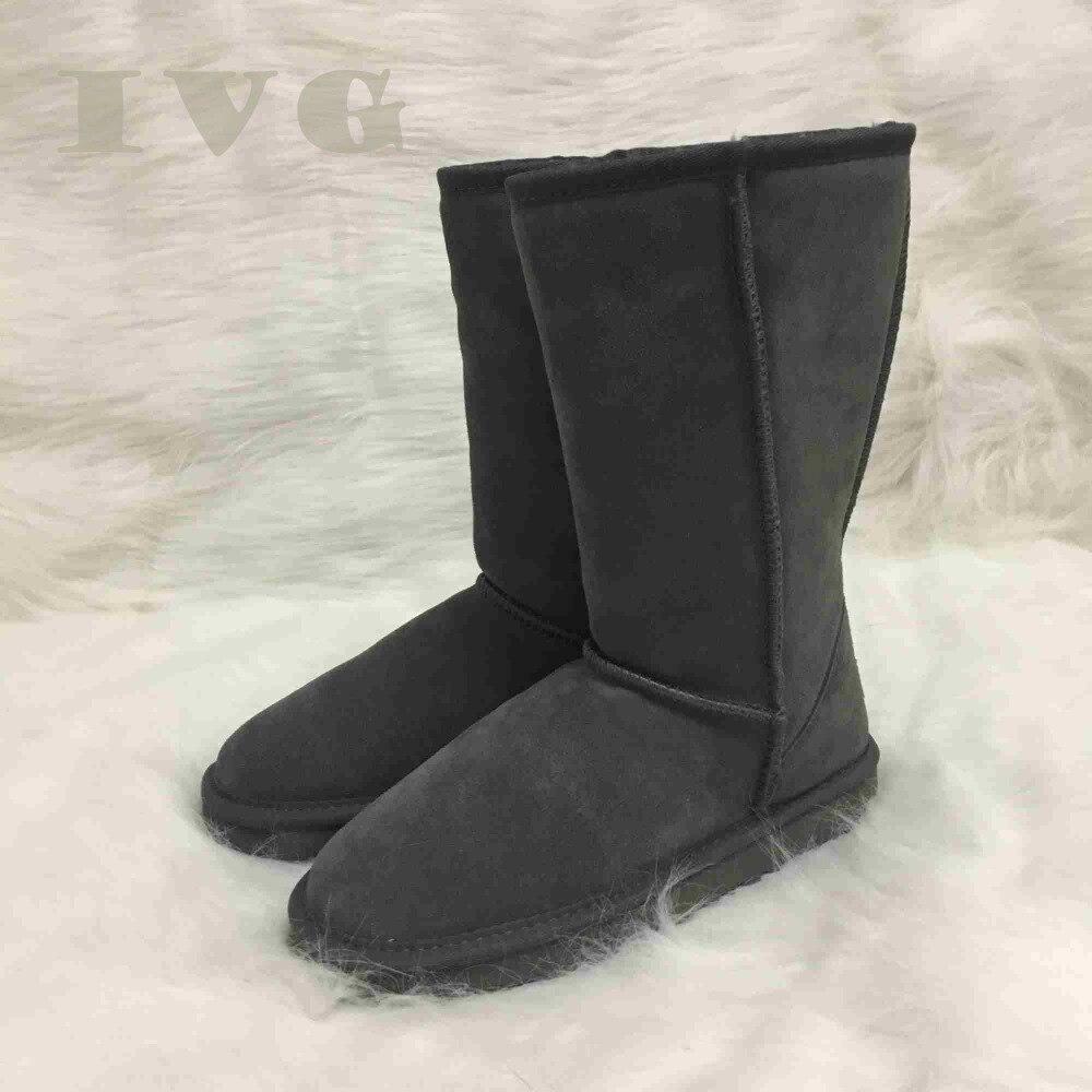 Плюс Размеры us3-14 австралийские угги Для женщин Теплые Сапоги унисекс Водонепроницаемый зимние кожаные ботинки с высоким голенищем бренд IVG...