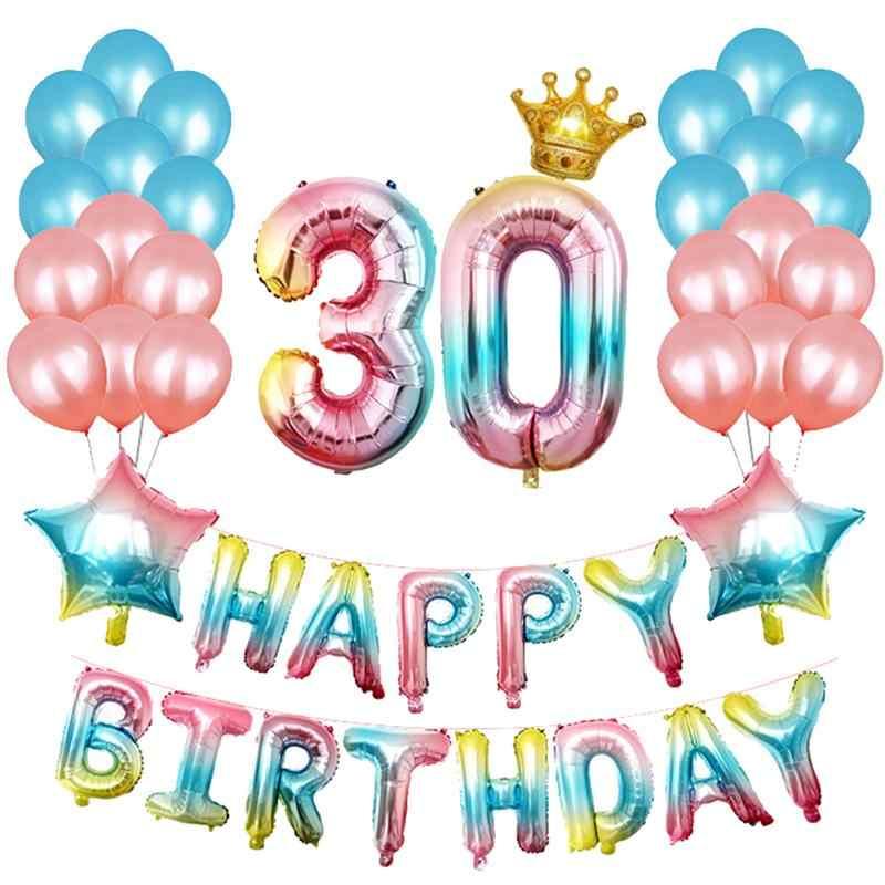 1 комплект радужные воздушные шары для дня рождения латексный Алюминий пленка воздушные шары с золотой короной 18 20 30 40 День рождения украшения A3