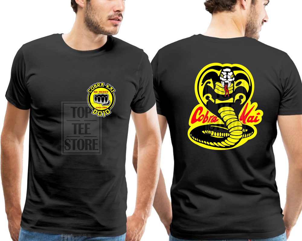 2018 Summer New Cobra Kai Karate Kid Movie Logo In Men'S Short Sleeve T Shirt 100% Cotton Shirt image