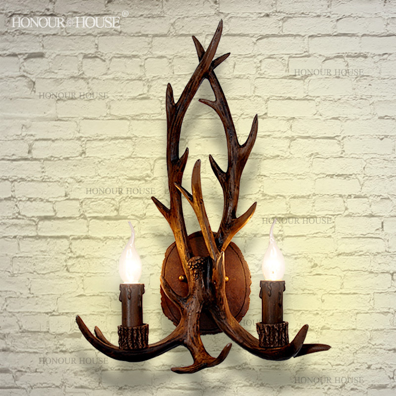 Wall Lamps Lights & Lighting Free Shipping American Country Style Antlers Design Resin Hallway Corridor Light Toilet Table Light Wall Lamp