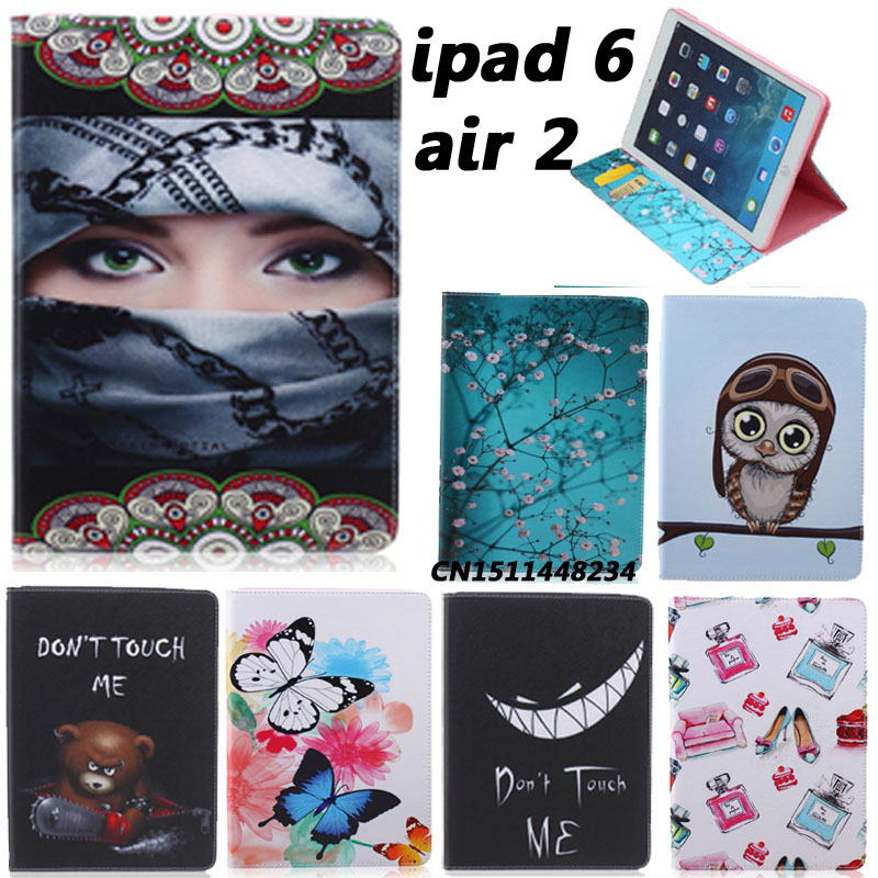New Fashion Painting Designer Case For Apple Ipad air 2 ipad 6 Luxury Smart Cover Leather Flip Stand Case For ipad air2+film+pen hand strap shockproof stand case armor cover for ipad air 2 ipad 6 full protective stand case for ipad air2 ipad6