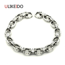 100% Pure 925 Sterling Silver Bracelets Men Fashion Punk Hand Chain For Women Silver Jewelry Charm CH Bracelet Homme 566