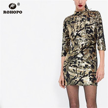 ROHOPO Double Layers Autumn Long Sleeve Gold Sequined Dresss Back Hollow Sexy Party Vestido Floral Mini Tunic Dresses #AZ9148