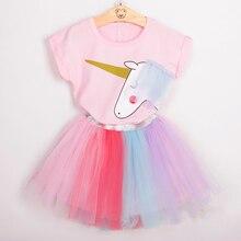 Girls 2018 Summer New Baby Girls Clothing Sets Fashion Style Cartoon Kitten Printed T-Shirts+Net Veil Dress 2Pcs Girls Clothes