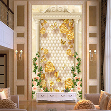 Customized Europe style luxury wallpaper gold and roses floating on textured ellipse leather background living room vestibule