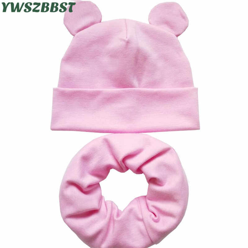 New Baby Hat with Cute Ears Cotton Infant Hat Baby Hats for Girls Boys Child Cap Scarf Collars Ring Autumn Winter Warm Cap