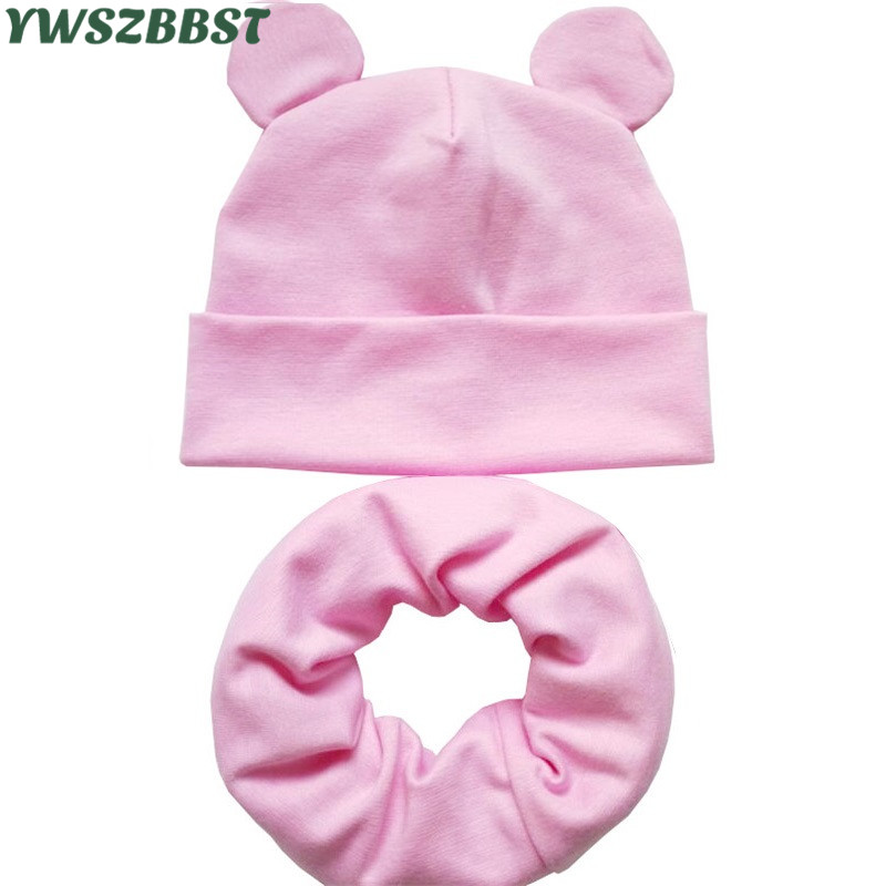New Baby Hat with Cute Ears Cotton Infant Hat Baby Hats for Girls Boys Child Cap Scarf Collars Ring Autumn Winter Warm Cap doubchow adults womens mens teenages kids boys girls cartoon animal hats cute brown bear plush winter warm cap with paws gloves page 7