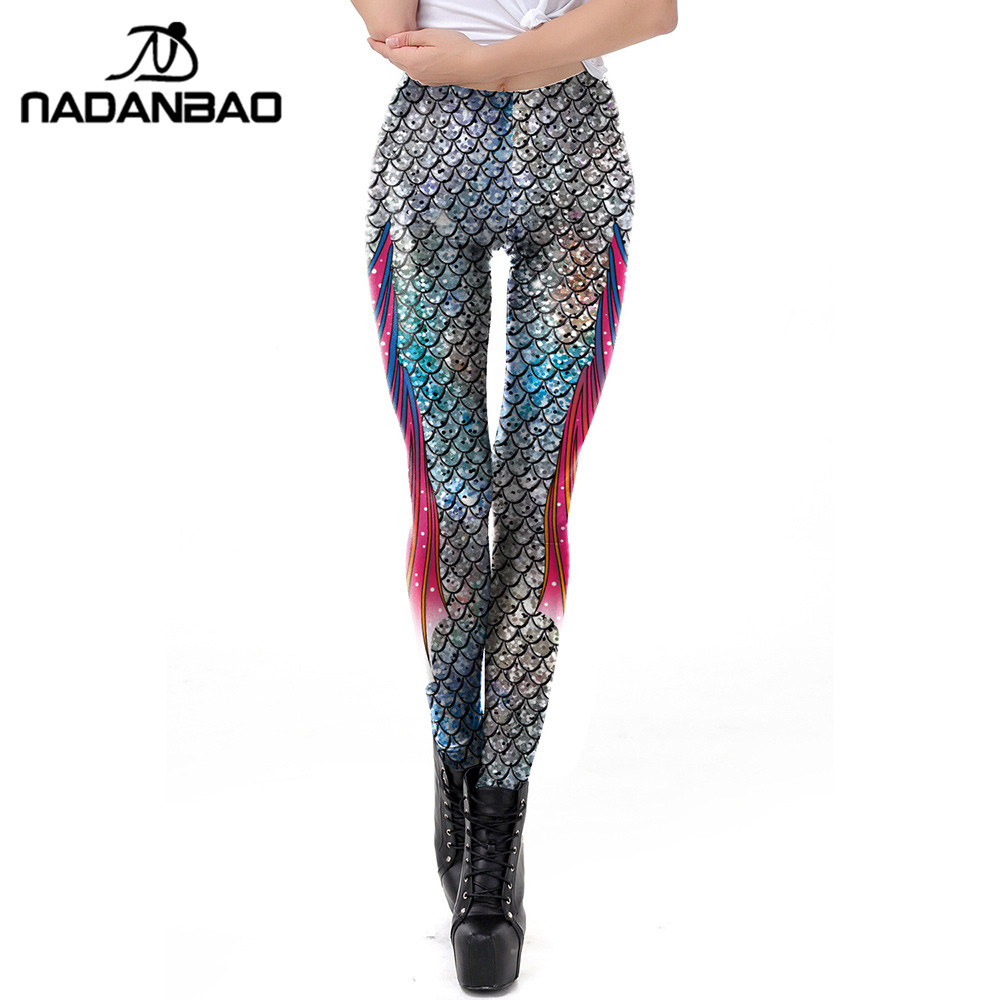 NADANBAO Sexy Galaxy Mermaid Leggings Women Fish Scale Printed Workout Legging Silver Colour Bling Bling Fitness Leggins leggings