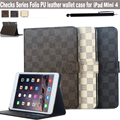 "For Apple iPad MINI 4 7.9"" Ultra Slim Lattice Drawing Series PU Leather Folding Card Holder Design Magnetic Stand Case Cover"