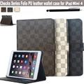 """Para Apple iPad MINI 4 7.9 """" Ultra Slim malha série de desenho PU couro Folding titular do cartão projeto suporte magnético da tampa do caso"""