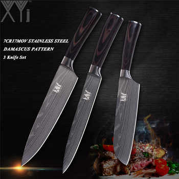 XYj Multi-purpose Stainless Steel Knives Sets Sharp&Durable Kitchen Knive Set Chef Slicer Santoku Knife Exquisite Kitchen Gift