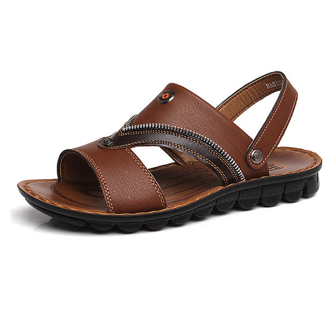 30fb6bd003d85 New 2015 summer PU leather sandals+SLIPPERS 2 style fashion men shoes  Leisure ventilate beach