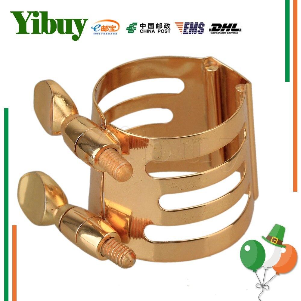 Yibuy Round Exquisite Sax Acessories M Shape Gilded Metal Alto Sax Ligature
