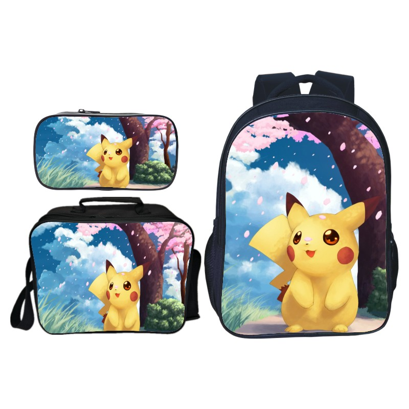 High Quality Pokemon Pikachu Backpack Fashion Surprise Gift Travel Rucksack 3Pcs Sets Students Boys Girls School