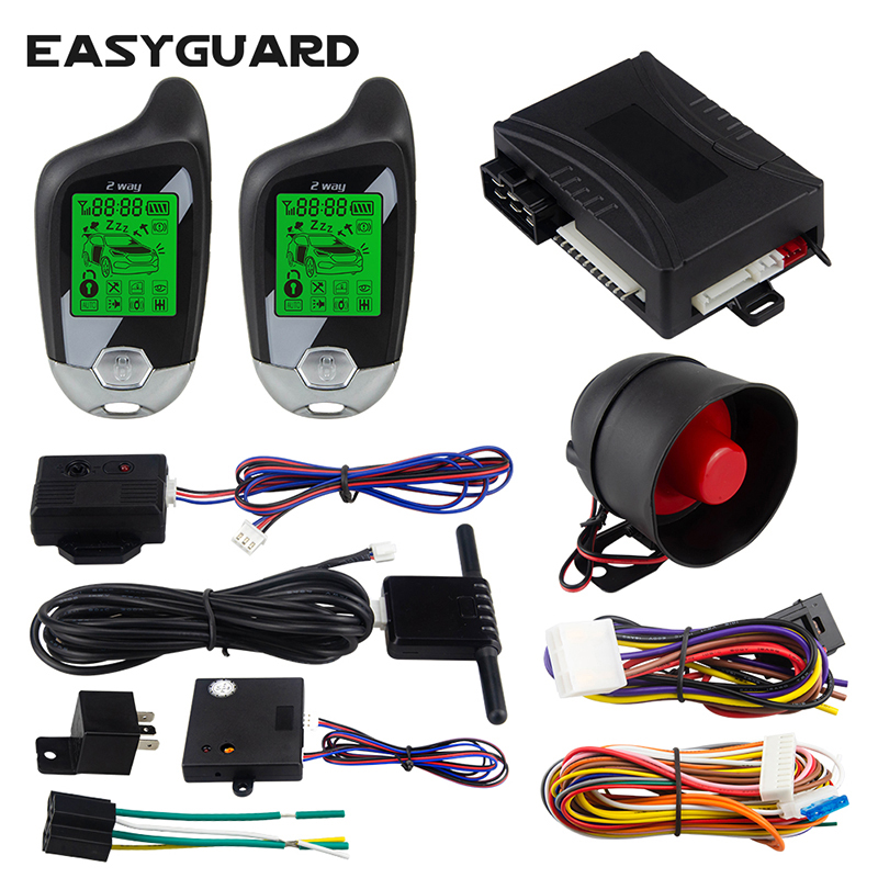 Easyguard Universal 2 Way Car Alarm System Lcd Pager Display Auto Start Vibration Alarm Microwave/shock Warn Dc12v Alarm Systems & Security Automobiles & Motorcycles