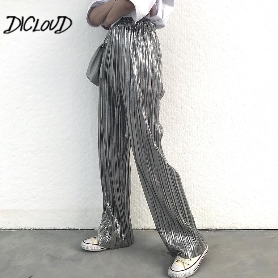 Fashion Bronzing Silver Pants Women 2018 High Waist Pleated Trousers Female Harajuku Stretch Summer Wide Leg Pants Clothes