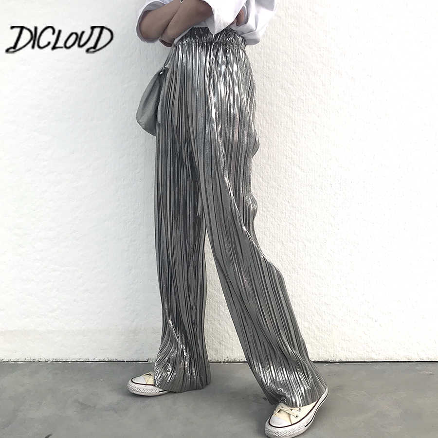 9a903c957080 Fashion Bronzing Silver Pants Women 2018 High Waist Pleated Trousers Female  Harajuku Stretch Summer Wide Leg