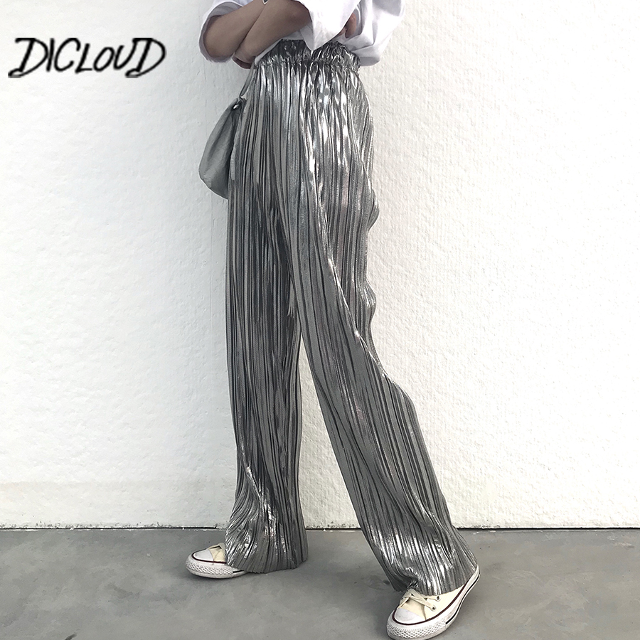 Fashion Bronzing Silver   Pants   Women 2018 High Waist Pleated Trousers Female Harajuku Stretch Summer   Wide     Leg     Pants   Clothes