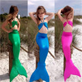 Girls Swimwear 3pcs Swimmable Mermaid Tail Monofin Bikini Swimsuit Swimwear Costume 3PCS Set 3-7Y