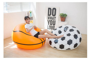 Image 5 - Inflatable Basketball Bean Bag Chair Soccer Ball Air Sofa Indoor Living Room PVC Lounger for Adult Kids Outdoor Lounge Armchair