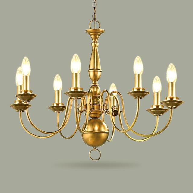 6-8 pcs modern luxury Chandelier for dining room kitchen Candle chandelier led lamparas Copper Cafe light American vintage lamp