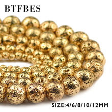 BTFBES Natural Lava Stone 14 Gold charm Beads 4 6 8 10 12 mm Round Loose Spacer Beads for Women Jewelry Bracelet Making DIY Ball btfbes 200pcs stainless steel 3 4 5 6 8mm spacer beads round ball metal loose beads for jewelry bracelet making diy accessories