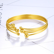 Simple Fashion Design 24K Bangle Charm Women Bride Wedding Gift Bracelet Fitting Exquisite Jewelry Packaging