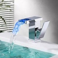 BAKALA Bathroom LED Waterfall Faucet Sink Basin Mixer Tap Square Chromed Bathroom Mixer Tap Tall or Short BR 714