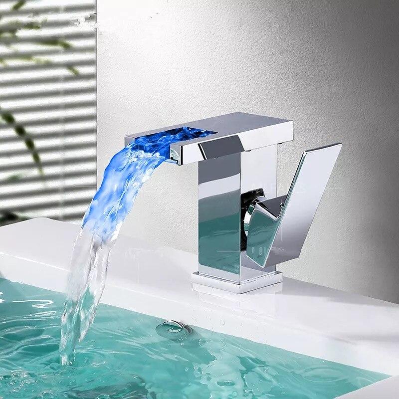 BAKALA salle de bain LED cascade robinet évier bassin mélangeur robinet carré chromé salle de bain mitigeur grand ou court BR-714