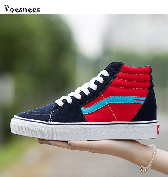 1d527e32c80 2019 Spring High Top Canvas Shoes Women Lace-up Vulcanize Shoes Ladies  Sneaker Flat Shoes Women Mujer Black Student Board Shoes