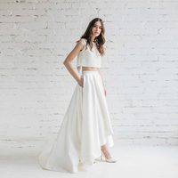 Elegante Blanco Alto Bajo Nupcial Faldas con Bolsillos de Cintura Alta piso-Longitud Plisada Falda Larga Maxi para el Banquete de Boda Personalizada hecho