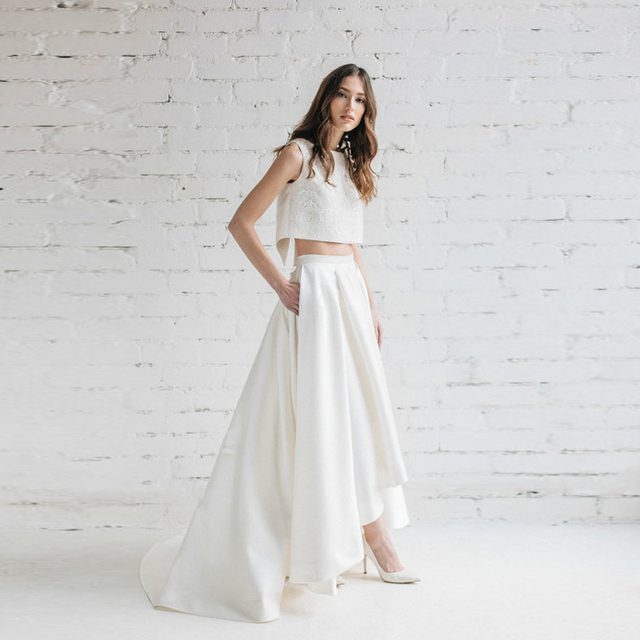 Elegante Blanco alto bajo nupcial Faldas con bolsillos alta cintura piso  longitud plisada Maxi Falda larga 91dc23b7da91