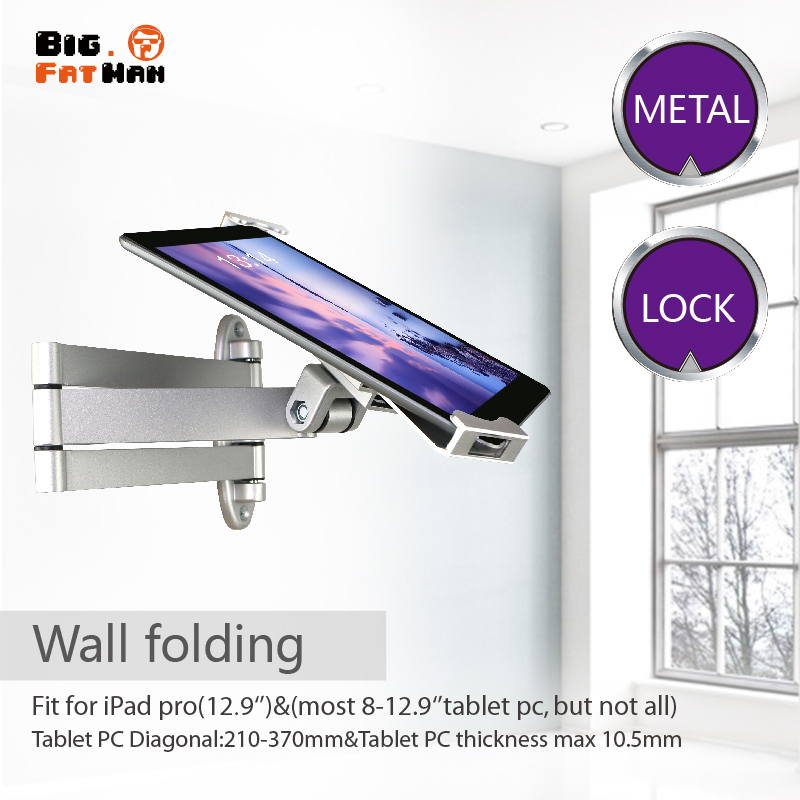 Tablet stand wall mount Folding stretch Security with lock for 8 12 9 tablets retractable holder