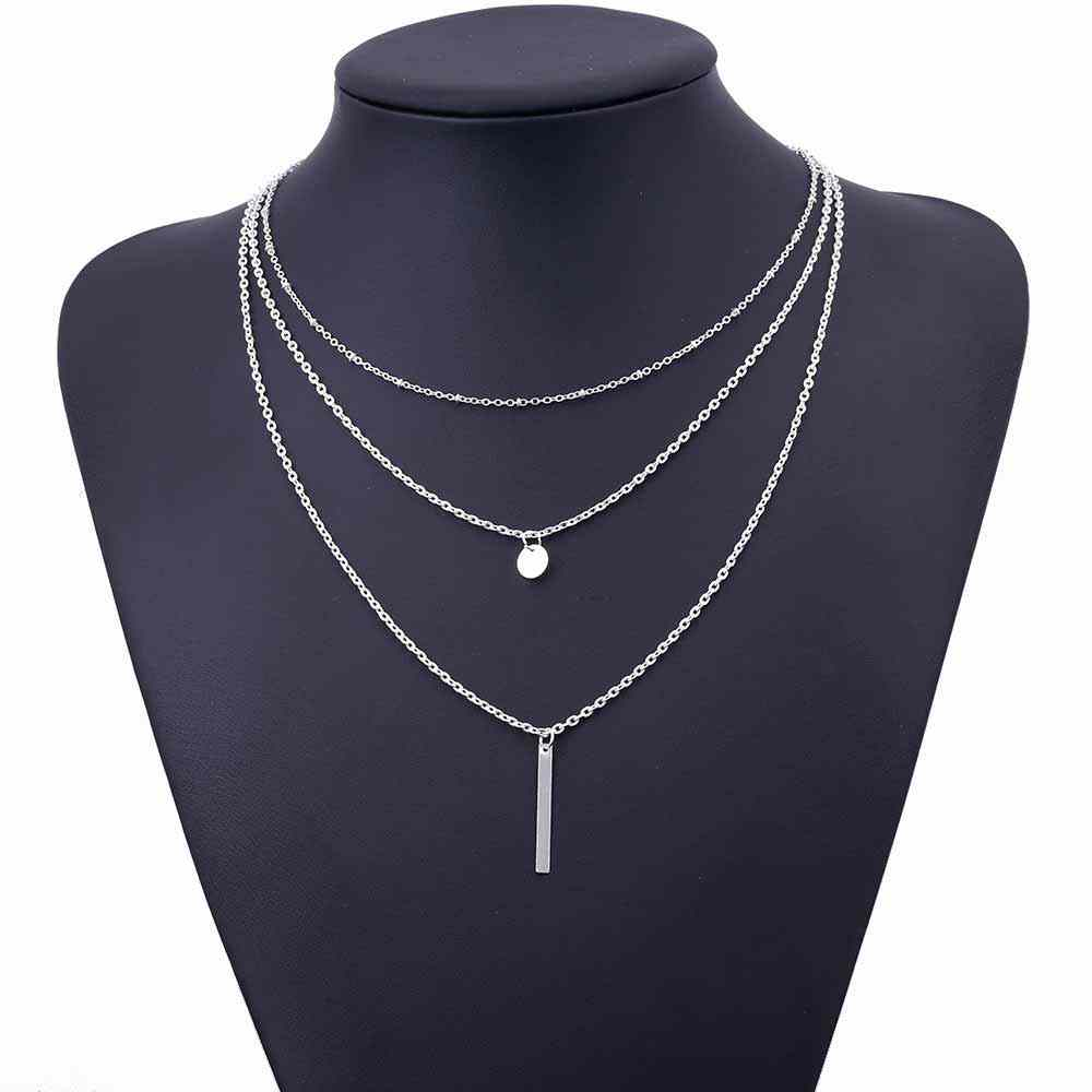 2019 Baru Wanita Fashion Emas Warna 3 Lapisan Rantai Kalung Hollow Keluar Segitiga Panjang Liontin Kalung Perhiasan Hadiah Perhiasan