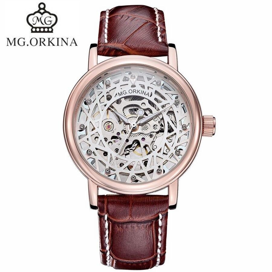 ФОТО MG.Orkina New Fashion Men's See Through Handwind Mechanical Watch PU Leather Wristwatch  Gift With Box Free Ship