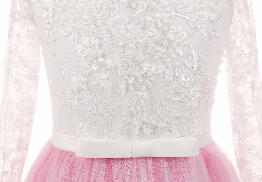 JaneVini Prinses Lange Mouwen Sweep Trein Bloem Meisje Jurken voor Bruiloften Kant Tutu Kids Pageant Avondjurken Wit Top Roze Rok - 4
