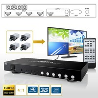HDMI 4x1 Quad Picture Screen Split Switch Multi viewer Seamless Switcher Digital Audio LPCM DTS PC RS232 Control IR Remote