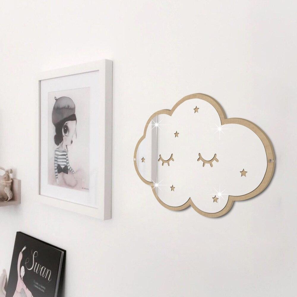 Nordic Scandinavia Style Nursery Decorative Mirror Plexiglass Mirror With Wooden Frame Children Baby Kids Room Hanging Decor