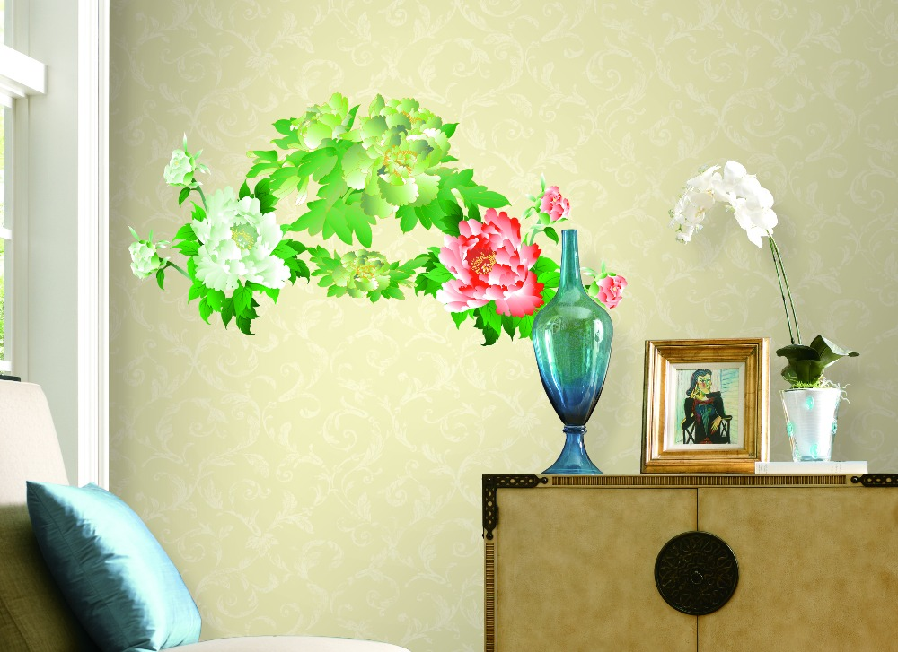 Peony household wall stick wall stickers can remove PVC transparent film on the wall