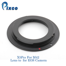 Pixco 5 Pcs For M42-EOS Lens Adapter Suit For M42 Lens to Suit for Canon EOS Camera (Black)