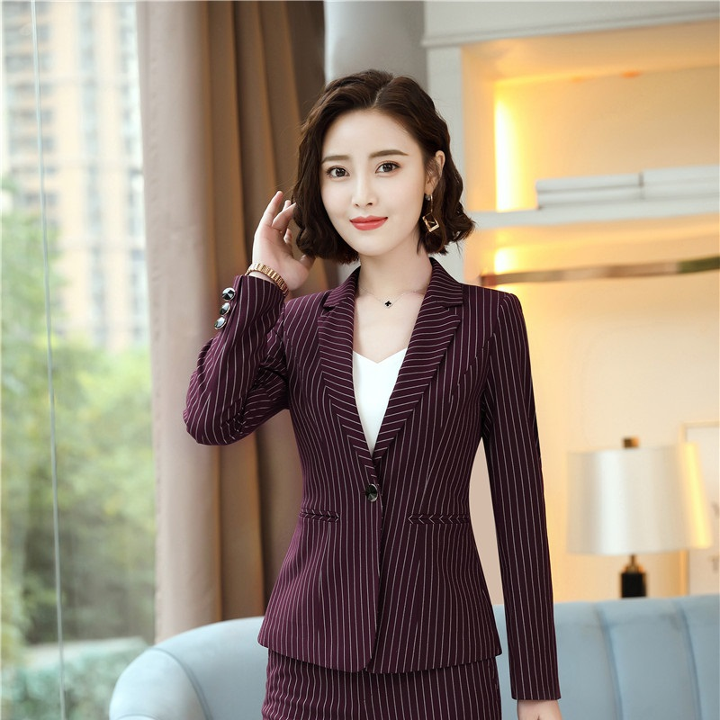 2018 Autumn Winter Fashion Striped Long Sleeve Blazers Jackets Coat For Business Women Work Wear Female Tops Clothes Outwear