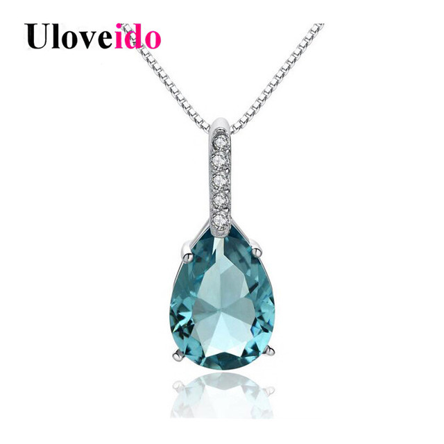 Uloveido 40% Off Water Drop Necklaces & Pendants 925 Silver Necklace Women Chain Colar Blue Zircon Pendant Bijoux with Box WA041