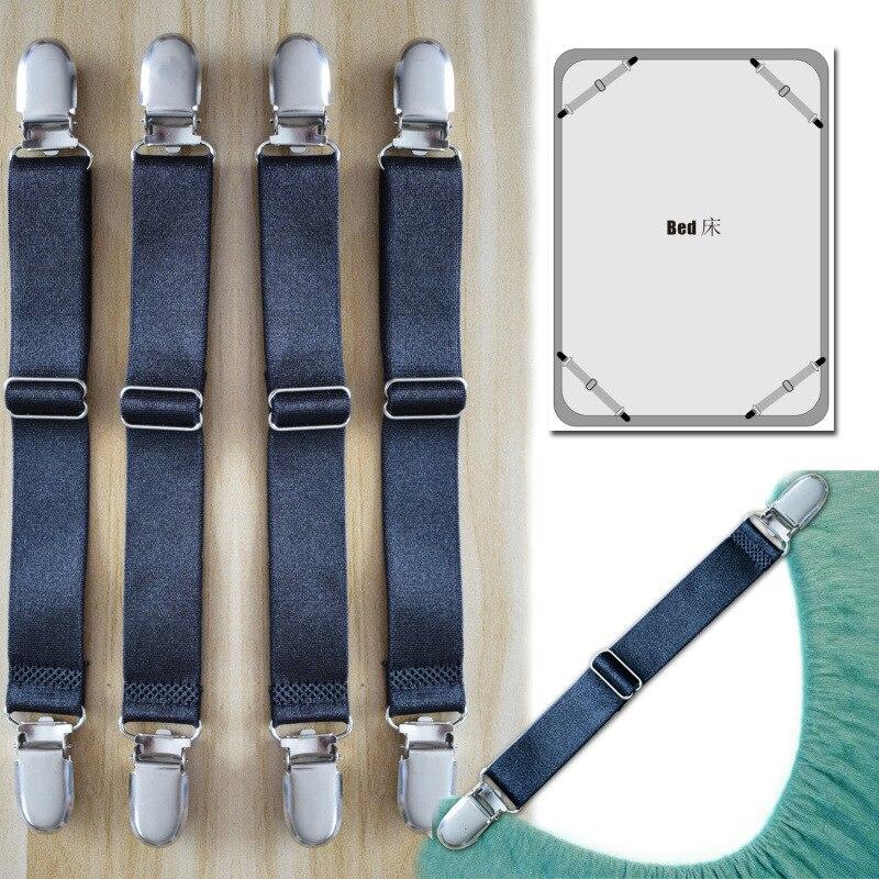 New Sheets Stay Suspenders Sofa Cover Holder Bed Linen Slip Retaining Clip  Suspenders Shirt Braces Elastic 4pcs/set CDJ04