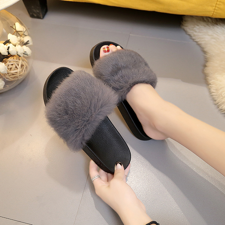 Designer Fluffy Fur Women Winter Slippers Female Plush Home Slides Indoor Casual Shoes Chaussure Femme frico accs10e08 h