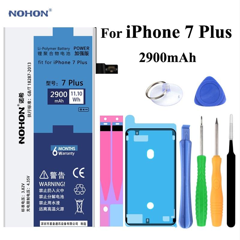 D'origine NOHON Batterie Pour Apple iPhone 7 Plus je Téléphone 7 Plus iPhone7 Plus Réel Capacité 2900 mAh Mobile téléphone Bateria + Livraison outils