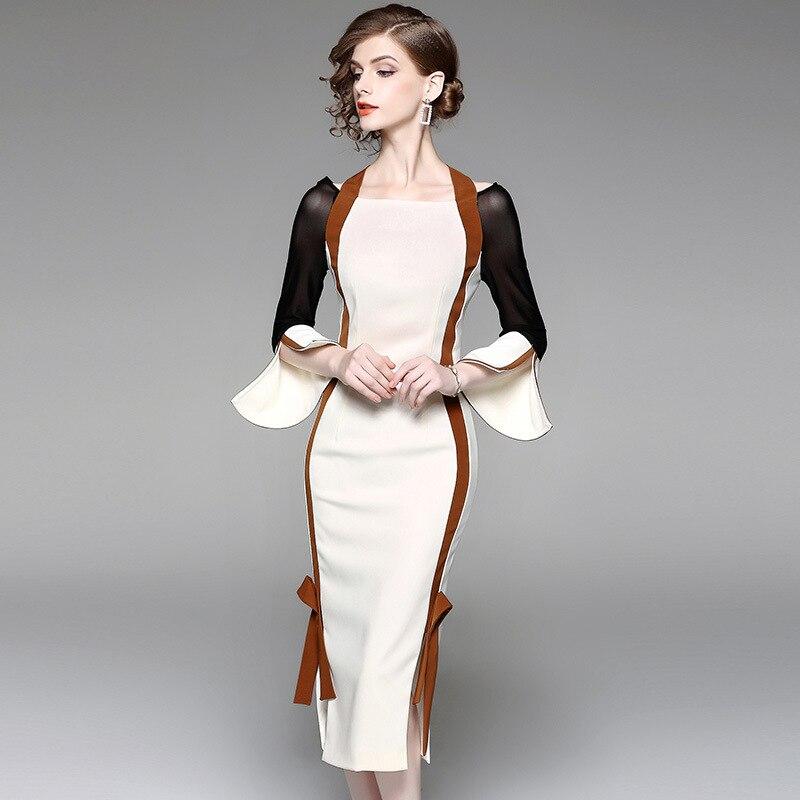 Multiflora New Elegant Style Flare mesh Sleeves Slash strap Neck Color blocked Bodycon Dress bowknot neck back Pencil Sexy Dress