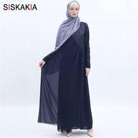 Siskakia High Grade Chiffon Long Dress Fashion Sequins Patchwork Maxi Dresses Muslim Women's Jubah Solid Summer 2019